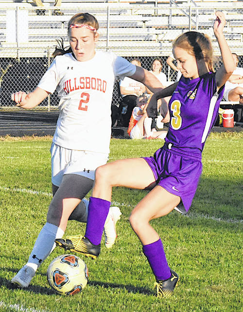 McClain Lady Tiger Mackenzie Anderson and Lady Indian Breanna Karnes battle for possession of the ball during the second half of the Lady Indians convincing 10-1 victory on Thursday at McClain High School.