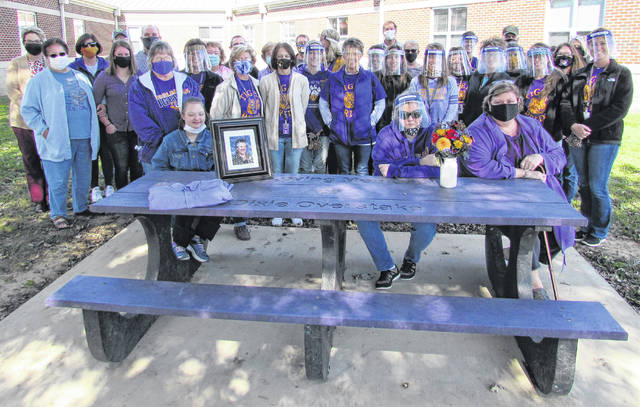 Family, friends, staff and former students were on hand Friday for the dedication of a memorial tribute picnic table in honor of Rainsboro Elementary teacher Dixie Overstake, who passed away July 20, 2019.