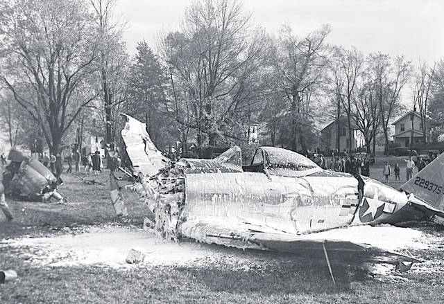 This Army fighter plane experienced engine trouble upon taking off from the Clinton County Air Force Base and crash-landed in front of the Wilmington College Library on Oct. 26, 1944.