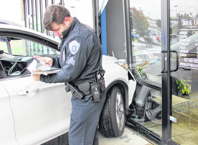 Mistaking the accelerator for the brake pedal reportedly caused an SUV to plow into a front plate glass window of a Hillsboro chiropractic office Tuesday afternoon. Sgt. Shawn Kelley of the Hillsboro Police Department told The Times-Gazette that Grace Anderson of Hillsboro was attempting to park her Ford Escape when she hit the gas pedal instead of the brakes, side-swiping another SUV's front passenger-side bumper that was parked in front of True-Life Chiropractic on Harry Sauner Road. Kelley said that as she was attempting to park, Anderson's foot slipped off the brake and hit the gas pedal, which jolted her over the curb and into the front of the building. The sudden impact shattered the glass and caused moderate damage to the front of the Escape. Kelley said that the space where the window was would be boarded up as protection against the elements and that HPD patrol officers would make periodic checks on the office until the window is replaced. There were no injuries in the mishap and no word on any citations.