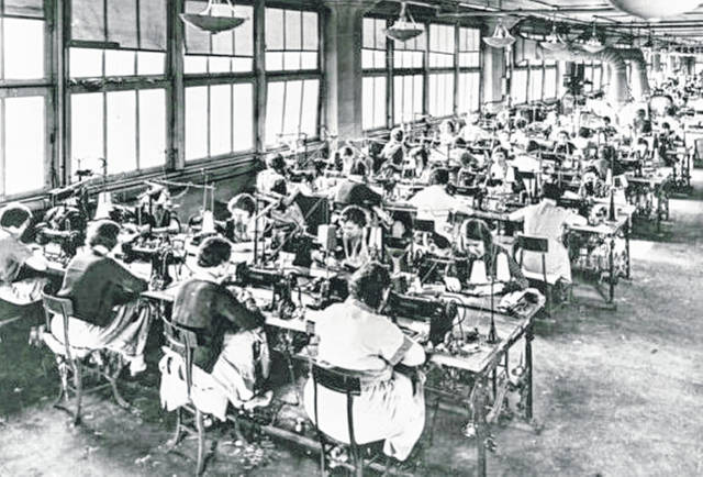 This photograph, circa 1935, shows women working at Williams Shoe Company in Portsmouth.