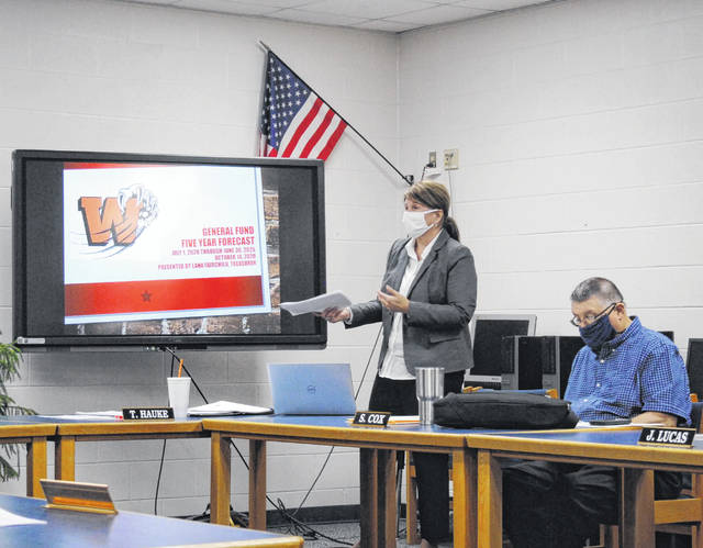 Bright Local Treasurer Lana Fairchild (standing) presents the district's five-year financial forecast at the district's Wednesday board of education meeting.