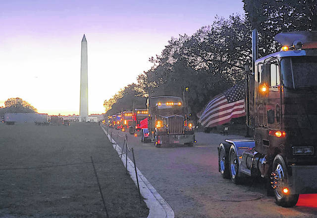In a scene from a previous Ten Four D.C. demonstration, semi-truck drivers, owner-operators and friends gather with their trucks at the National Mall in Washington D.C. In 2019, participants parked a total of 44 semis on the National Mall.