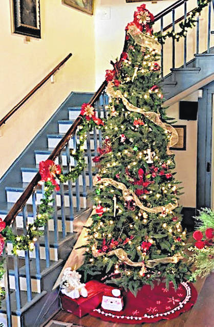 This is the Christmas tree in the entry hallway at the Highland County Historical Society's Highland House Museum.