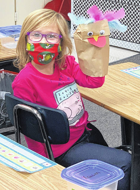 Greenfield Elementary student Brooklyn Raike shows off her turkey creation.