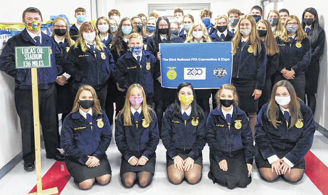 The Fairfield FFA had a fun three days watching the 93rd National FFA Convention & Expo from the classroom. Usually, the chapter travels to Indianapolis to attend the convention in person. However, due to current circumstances, the chapter had to enjoy a virtual convention from the classroom. The Fairfield FFA decorated the hallway and enjoyed many other activities to celebrate. The chapter looks forward to traveling to Indianapolis next year. Pictured is the Fairfield FFA Chapter in official FFA dress for the 93rd National FFA Convention & Expo.