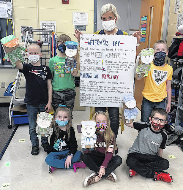 Students in grades K-2 at Greenfield Elementary took part Wednesday in activities with assistant principal Lindsay McNeal to learn about Veterans Day and why it is important.