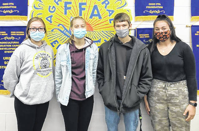 McClain FFA members participated in the State Urban Soils Contest recently. The members handled the changes made to the contest like champs. The urban soils team placed 15th in the state. The top four individuals who made up the team (pictgured l-r) were Josie Crabtree, Caitlin Willis, Eli Johnson and Payton Pryor.