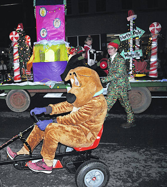 A float passes through the center of Hillsboro during last year's Lighted Christmas Parade.