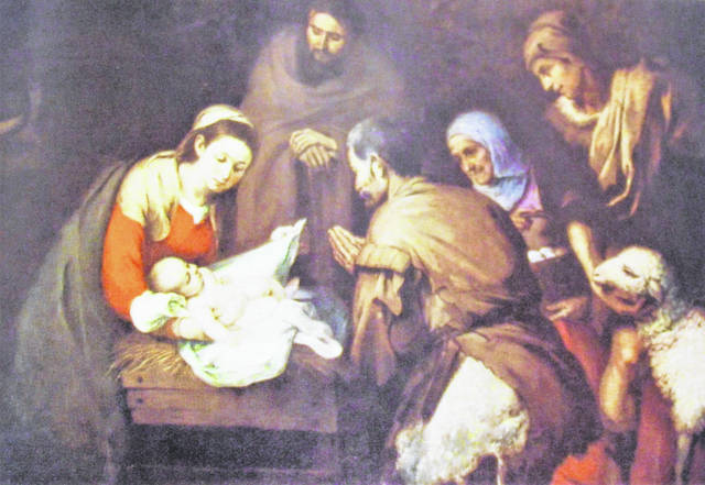 """Seventeeth-century artist Bartolome Murillo's painting of """"Adoration of the Shepherds"""" from the 1960 Devotional Family Bible."""