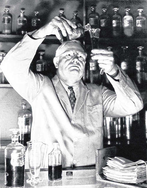Late Hillsboro resident Ed Ayres is pictured in his pharmacy in the 100 block of East Main Street in the 1940s.