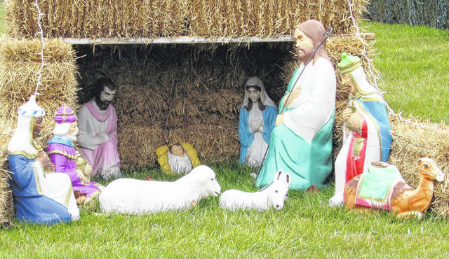 One of the many nativity displays that appear in the front yards of Highland County homes, this one is on US 50 just east of Hillsboro.