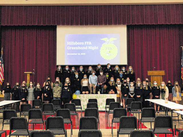 All of the greenhands and the Hillsboro FFA officers gather for a picture at the Hillsboro FFA Greenhand Night.