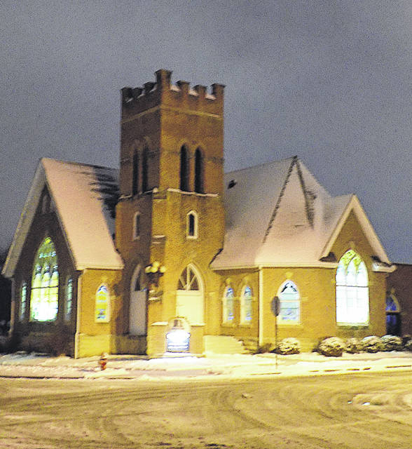 The Hillsboro First Baptist Church, pictured here on a snowy evening, will offer a free Christmas dinner to Hillsboro area residents from 11:30 a.m. to 1:30 p.m. on Christmas Day, Dec. 25.