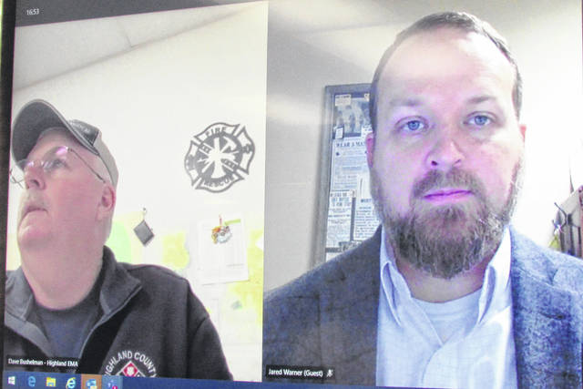 Shown are Highland County EMA Director David Bushelman (left) and Highland County Health Commissioner Jared Warner briefing county commissioners virtually Wednesday.