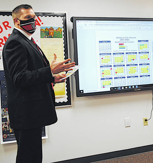 Superintendent Tim Davis talks about the 2021-22 school calendar during Monday's Hillsboro Board of Education meeting.