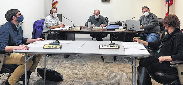 Greenfield Village Council members are pictured during a meeting late last year (l-r) Kyle Barr, Eric Borsini, Phil Clyburn, Mark Branham and Brenda Losey.