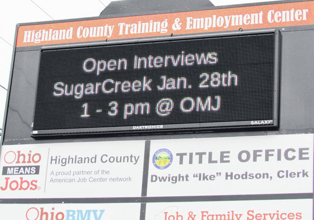 Despite a slight uptick in the Highland County unemployment numbers, help wanted signs still appear all over Hillsboro, including this one at the Hi-TEC Center.