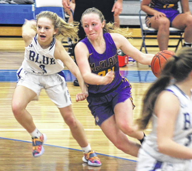 McClain senior Kyla Burchett drives on Washington sophomore Allie Mongold in Saturday's 40-37 Lady Tiger loss.