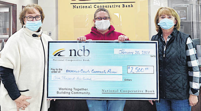 NCB recently donated $2,500 to the Highland County Community Action Organization, Inc., which offers assistance to Highland County individuals in various areas including health care, housing rehabilitation, utility assistance, transportation, and early childhood education and employment. Pictured are NCB's Tammy Irvin, HCCAO's Laura Bosier and NCB's Deb Hudson.