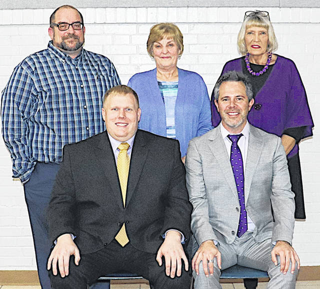 The Greenfield Exempted Village Board of Education members are (front row, l-r) president Charley Roman and member Eric Zint; (back row, l-r) vice president Eric Wise and board members Sandy Free and Marilyn Mitchell.