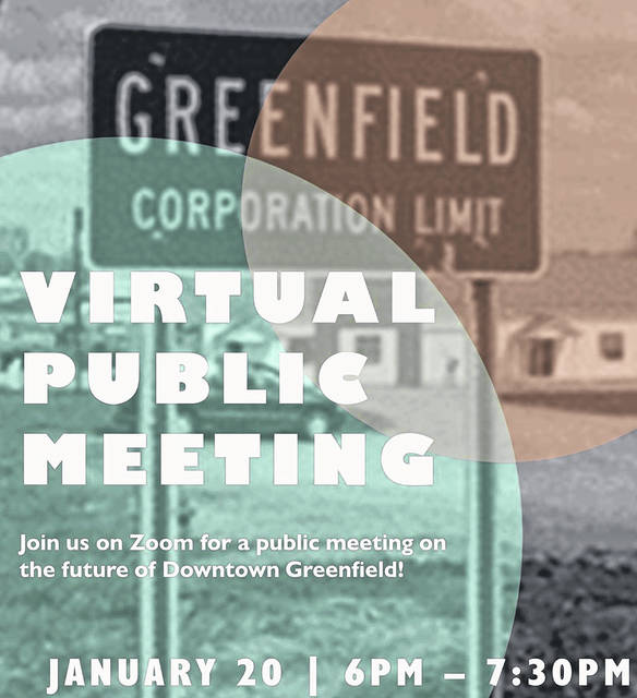 This graphic from the village of Greenfield provides information on a virtual public meeting Jan. 20 to discuss the revitalization of downtown Greenfield.