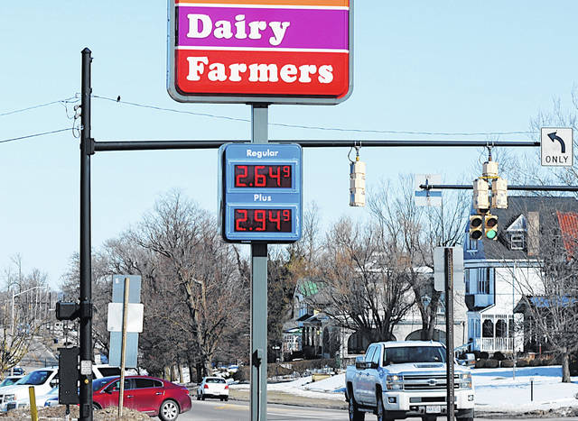 Regular gas was priced at $2.64.9 early Tuesday afternoon at United Dairy Farmers in Hillsboro.