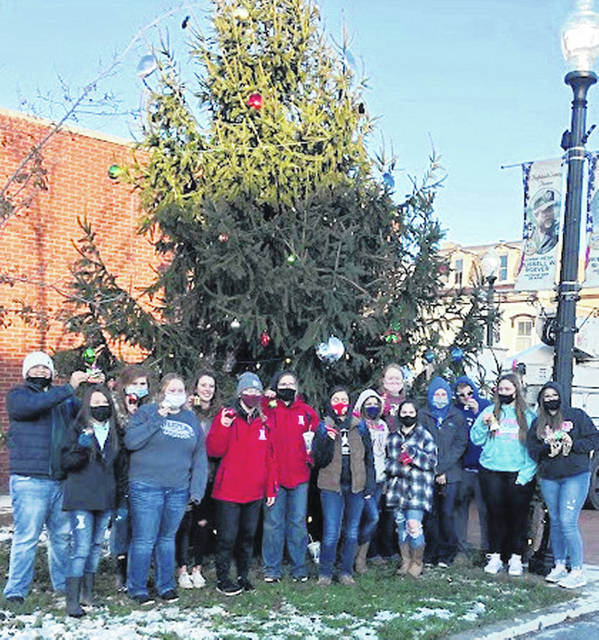 "The National FFA Organization embraces the idea of building stronger communities. The last line of the FFA motto, ""living to serve,"" signifies the vital role service plays in the organization. The Hillsboro FFA Chapter demonstrated living to serve in multiple ways throughout December. Fifteen students from the FFA helped the city of Hillsboro decorate a Christmas tree beside the courthouse. The chapter decorated it with ornaments, helped string lights and topped it off with a star. In addition, the ag classes decorated small Christmas trees with homemade ornaments and wrote Christmas cards to nursing home residents. The Christmas trees and cards were sent to The Laurels of Hillsboro and Heartland of Hillsboro. The greenhouse management class donated poinsettias to the nursing homes. Pictured (l-r) are Jase Huffman, Jenna Rhoades, Riley Stratton, Emma Hatfield, Zinny Adams, Kelcie Thornburg, Mallory Parsons, Jessica Howland, Abby Rudy, Ashlei Hatfield,Lydia Polstra, Riley Collins, Brayden Cochran, Alex Magee and Haylee Davis."