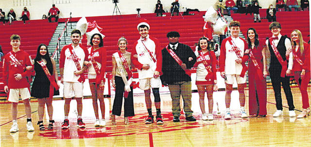 The 2020-21 Hillsboro High School Homecoming Court is pictured when they were honored during a recent basketball game. Pictured are (l-r) sophomore Korbin Adams and Juliana Benkiel, senior attendants Jack Roades and Cierra Lively, Queen Samantha Blair, King Brad Miller, senior attendants Zach Burns and Sophie Bourne, junior attendants Jayse Middleton and Gracie Dean and freshman attendants Peyton Aber and Savannah Sexton.