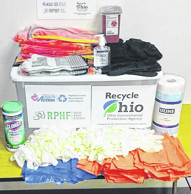 This photograph shows some of the items available through the Litter Cleanup Supplies Library at the Highland County Community Action Organization, Inc.