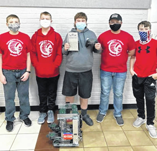 The members of Hillsboro robotics Team 45133H Oblivion are pictured (l-r) Ryan Fender, Zach Burwinkel, Dylan Barton, Zach Askren and Wesley Bailey.