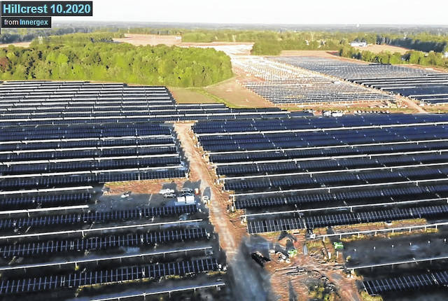 This is an aerial view of one of the sites of the Hillcrest solar farm near Buford, taken in October 2020.