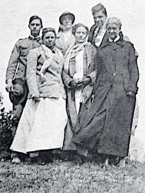 "This image shows (front, l-r) Sarah Ella ""Byrde"" Ayres, Harriet Lavinia Ayres and an unknown woman; (back, l-r) Edwin Billingham Ayres, Edith Pearl Laymon and Charles E. Ayres."
