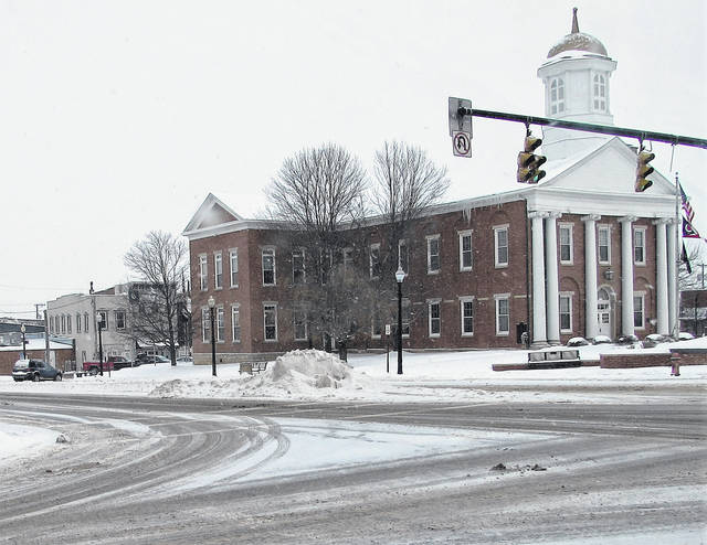This photo taken Tuesday morning in downtown Hillsboro shows why Highland County is on a Level 2 snow emergency. Snow covered roads along with drifts and piles of snow greeted motorists Tuesday morning with more snow is in the forecast starting Wednesday afternoon.