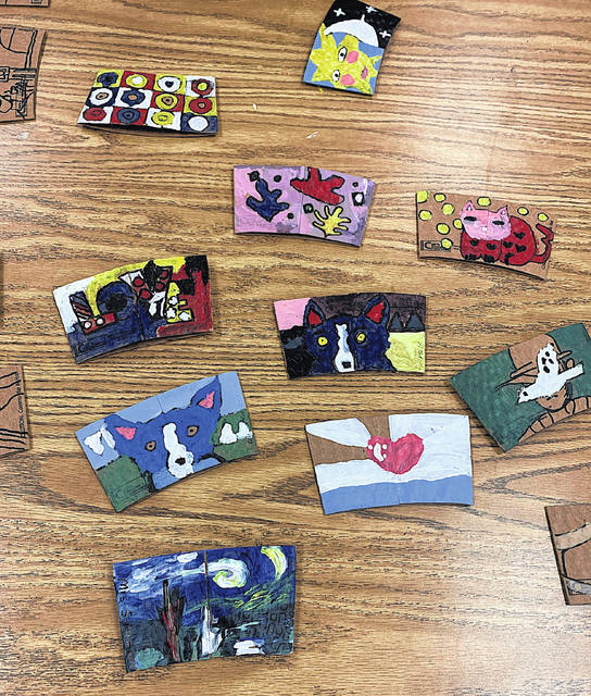 An array of famous artworks recreated on coffee sleeves by the art club members at Buckskin and Rainsboro elementaries are pictured and will soon appear on Holtfield Station beverage cups.