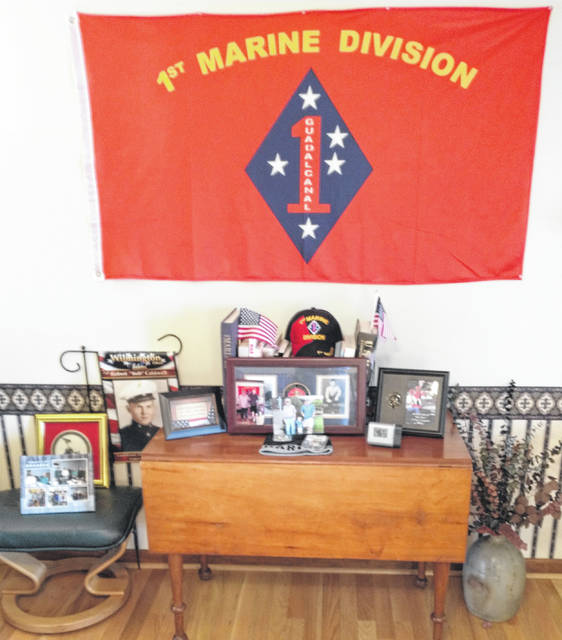 Bob Caldwell's Marine Corps and World War II keepsakes adorn his home.