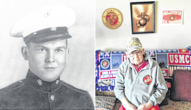 At left is Bob Caldwell, USMC, in 1944; at right is Caldwell recently, in the front room of his home.