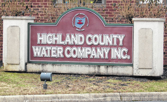A sign in front of the Highland County Water Company, 6696 U.S. Route 50 in Hillsboro, is shown in this picture taken Monday.