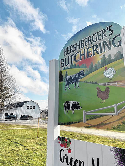 Hershberger's Butchering, located at 10890 SR 138 between Greenfield and Hillsboro, is shown in this photograph.
