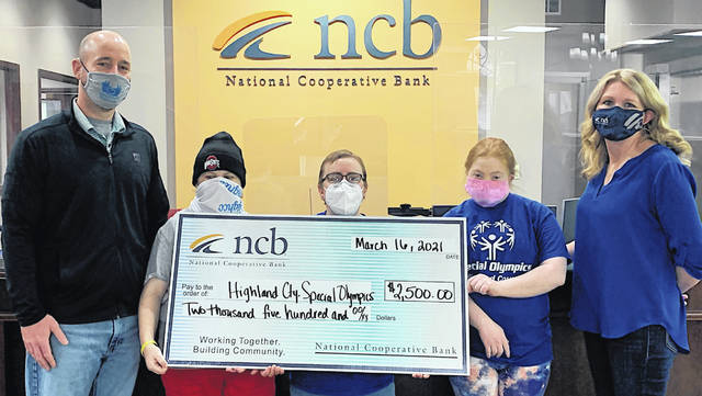 NCB recently made a $2,500 to the Highland County Special Olympics. Pictured (l-r) are Highland County Special Olympics Coordinator Nathan Boatman, Jessica Polstra, Madeline Rogers, Letitia Couch and NCB's Heather Cummings.