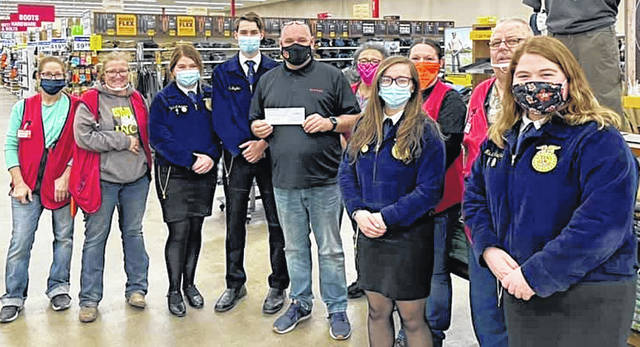 McClain FFA members are pictured with Rural King staff in Hillsboro which recently made a monetary donation to the McClain FFA Chapter. The FFA members in the picture are the four senior officers, president Alex Snyder, vice president Mallory Faulconer, reporter Maysun Faulconer and secretary Taylor Harper.