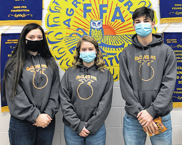McClain FFA members recently participated in the State Agricultural Soils Contest. This year the contest was completely virtual and our members took the change like champs, placing in the top 10 in the state. The team was made up of four individuals — Alex Snyder, Kenton McGlone, Lillian Fryman and Brice Graham. Pictured L-r) are McGlone, Graham and Snyder.