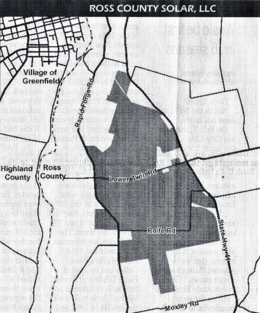 This map shows the size and boundaries of the proposed Ross County Solar project.