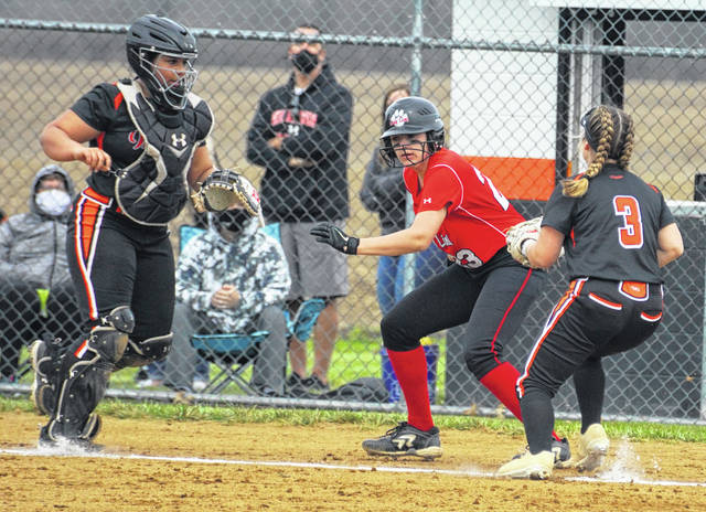 Wilmington's Nevaeh Blackburn (3) and Keiana Murdock (left) recorded an out on a rundown play during Saturday's softball game with Fairfield at the WHS diamond.