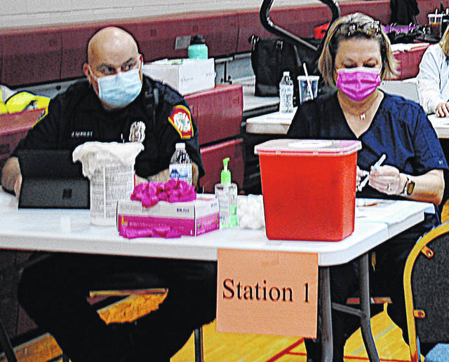 Local health care providers prepare to help the Highland County Health Department vaccinate Highland County residents on Thursday at the YMCA in Hillsboro.