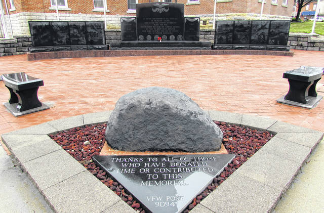 Hundreds of memorial bricks honor the sacrifice of veterans past and present at Highland County Veterans Memorial Walk of Honor on the courthouse square in Hillsboro.