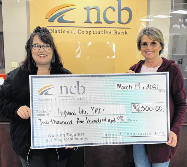NCB recently made a $2,500 donation to the Highland County Family YMCA. Pictured are Highland County Family YMCA Executive Director Kellie Kiser (left) and NCB Ohio Co-president Deb Jones.