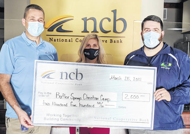 NCB recently made a $2,500 donation to Butler Springs Christian Camp & Retreat Center. Pictured (l-r) are NCB's Dave Smith and Mary Alice Hartley with camp coordinator Chris Osborne.