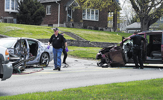"""One person was flown from the scene of a wreck Monday on West Main Street in Hillsboro, according to the Hillsboro Police Department. All others involved in the crash were transported to Highland District Hospital by the Paint Creek Joint EMS/Fire District and Lynchburg Joint Area Fire and Ambulance District. According to police department, a van driven Doreen Frye was westbound on West Main Street when she drove left of center and struck a car driven by Jason Burns, """"basically head-on,"""" the police department said."""