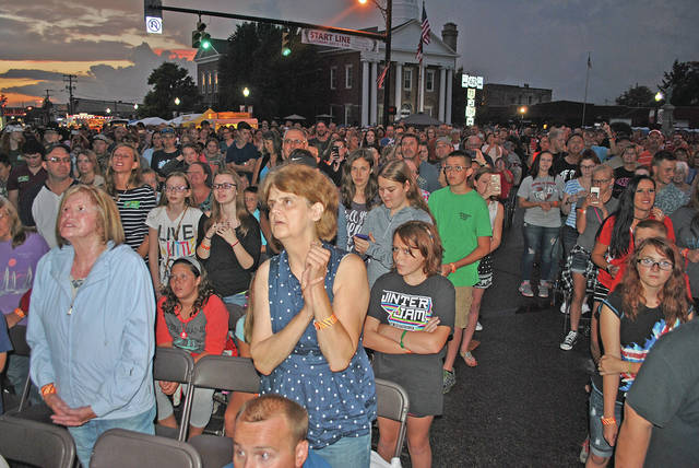 This scene from a past Festival of the Bells in uptown Hillsboro shows the crowd at a Christian concert.